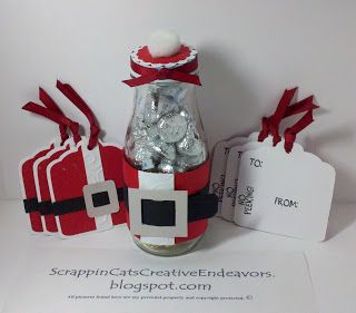 Welcome to Scrappin' Cat's Creative Endeavors: Santa bottle and tags