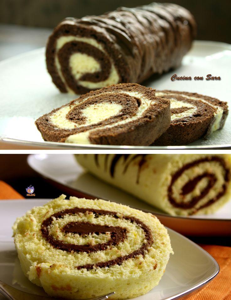 Rotolo alla nutella e rotolo al cacao. Rotolo alla nutella o rotolo al cacao con una deliziosa farcitura al cioccolato bianco?