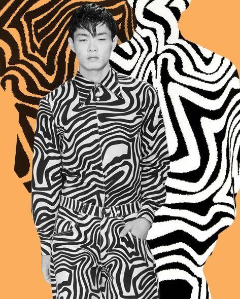 OP-ART Iludindo os olhos mais atentos, a Op Art é a escolha perfeita para as pessoas que gostam de peças fora do comum.  O jovem estilista londrino Christopher  Shannon's traz uma experiência psicodélica com a sua nova coleção  que mescla modelagens ousadas com estampas monocromáticas.