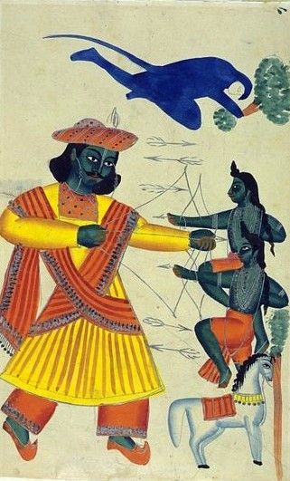 """Illustration to the Ramayana: Rama, using bows and arrows, is fighting with his (unrecognised) twin sons Kusha and Lava. The monkey God Hanuman, shown with blue fur, is seen in flight holding a tree which he is using as a weapon."" circa 1860 (made)"