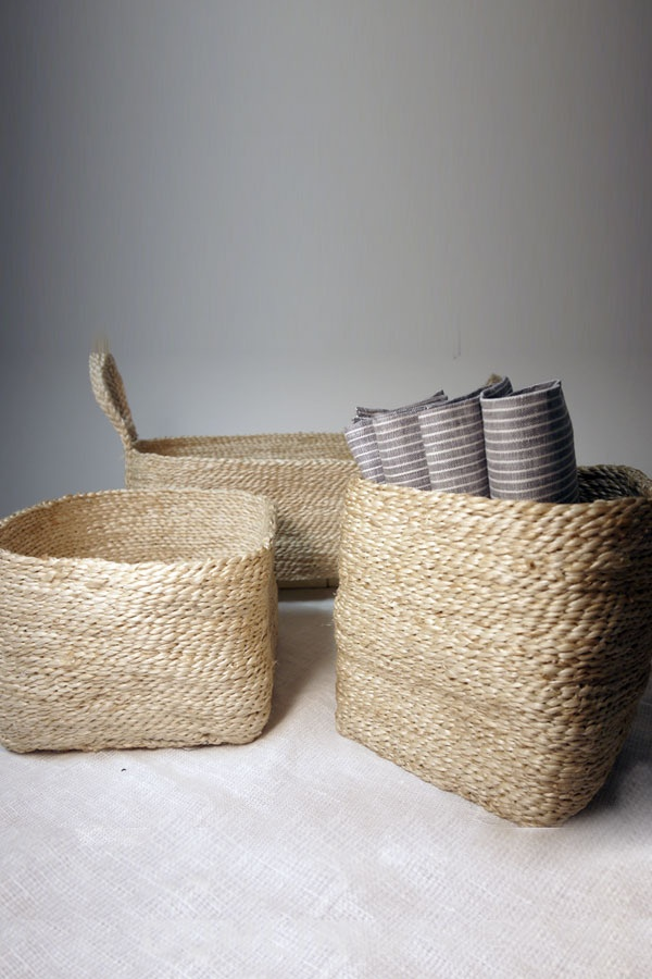 Jute Storage Collection. Set of three small baskets... $75
