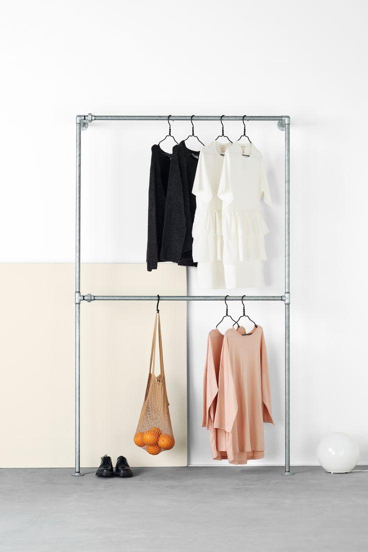 RackBuddy Bob Steele Clothing rack Danish Design, waterpipe in silver, galvanised