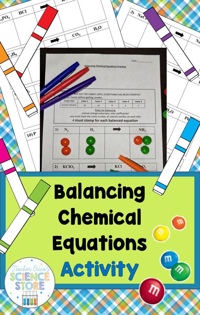 Balancing Chemical Equations Activity With Images Chemical