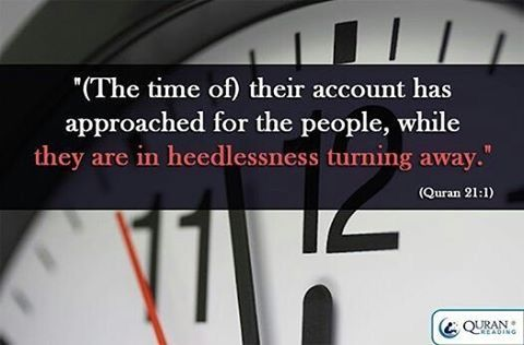 the time ⌚ of their account has approached for the people, while they are in heedlessness turning away.