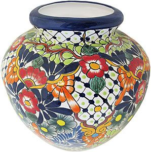 Talavera planters provide the perfect backdrop for flowers, herbs, small shrubs, hanging plants or succulents.  The vibrant colors and intricate patterns will highlight the verdant hues of all your garden plants.