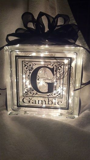 Personalized Lighted Glass Block Gamble Is Bell Mt Font