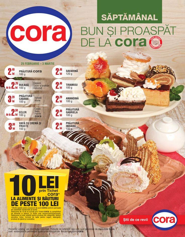 10 Lei prin tichet Cora la alimente si bauturi de peste 100 Lei. Vizualizati noul Catalog Cora Alimentar valabil in perioada 25.02-03.03.2015
