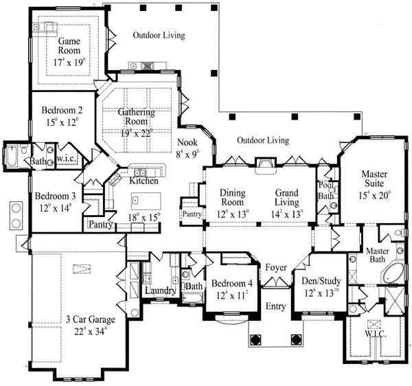 Corner lot house plans with pool for Corner house plans
