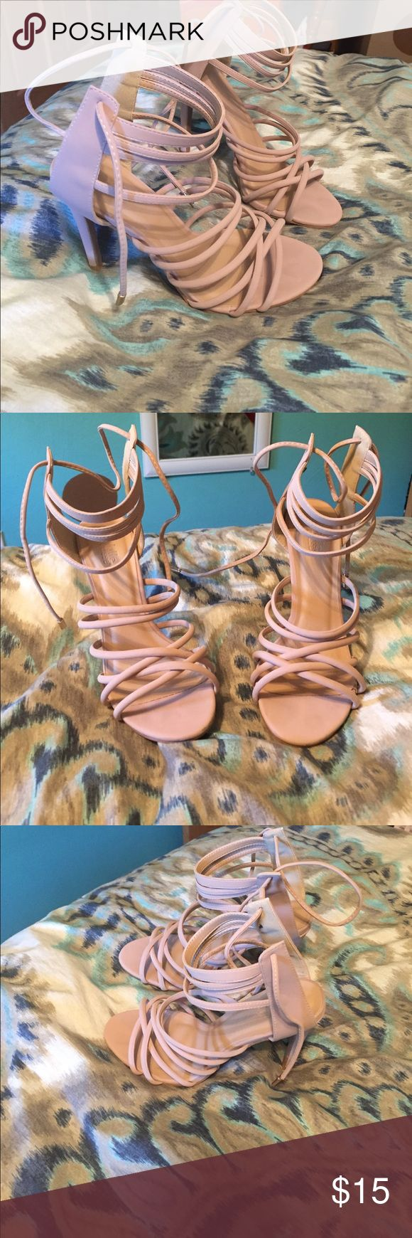 High heels Nude/beige in color, originally from Charlotte Russe, size 8, never worn, excellent condition! Perfect strappy high hell to wear out! Charlotte Russe Shoes Heels