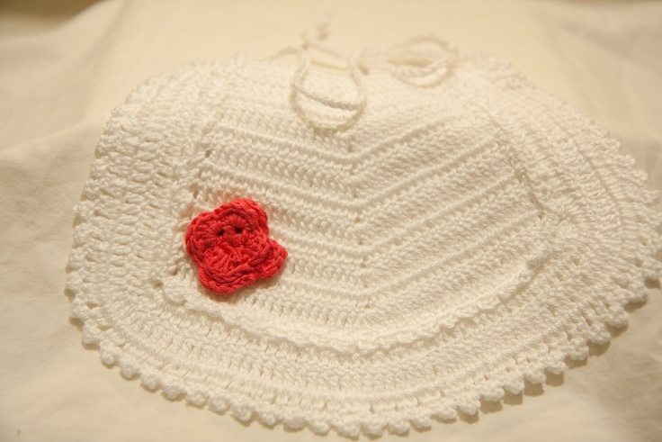 Fine Crochet Baby's Bib white with pink flower. $10.00, via Etsy.