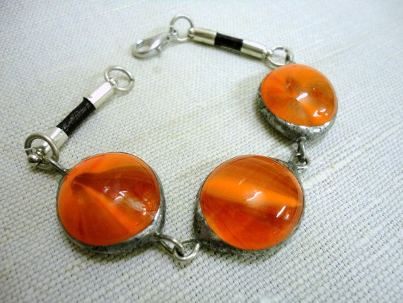 Orange Glass Bead Bracelet // Stained Glass Bracelet // Tiffany Glass // CLICK TO SEE MORE!