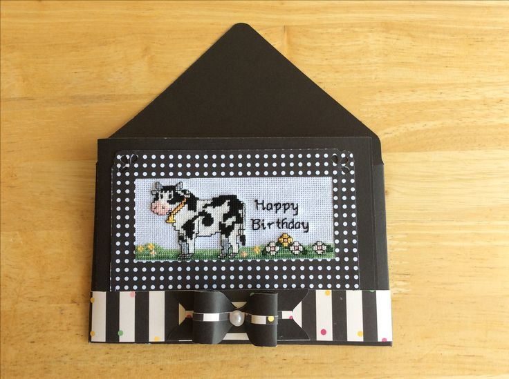 Cross stitch cow birthday card made by Karen Miniaci. Matching Envelope, band and bow made with Envelope Punch Board.