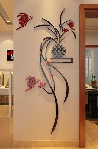 3d Potted Plant Wall Murals for Living Room Bedroom Sofa Backdrop Tv Wall Background Originality Stickers Gift DIY Wall Decal Wall Decor Wall Decorations Red Large -- You can get more details by clicking on the image.
