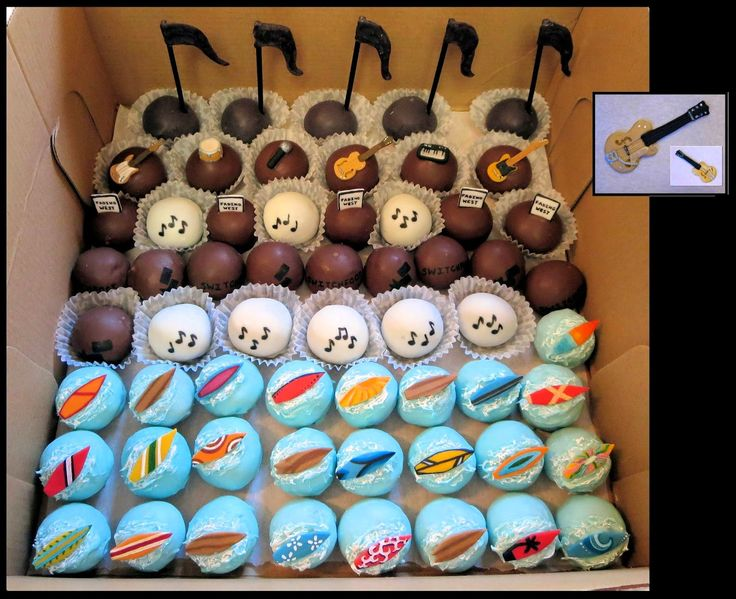 Switchfoot Themed Cake Balls - Surf Boards, Instruments, Music notes, Logo, Fading West