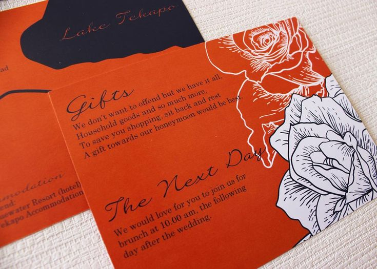 asking for wedding gifts - navy and orange
