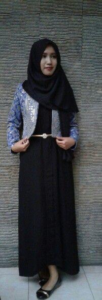 Dress muslimah  dengan bolero dan pasmina katun