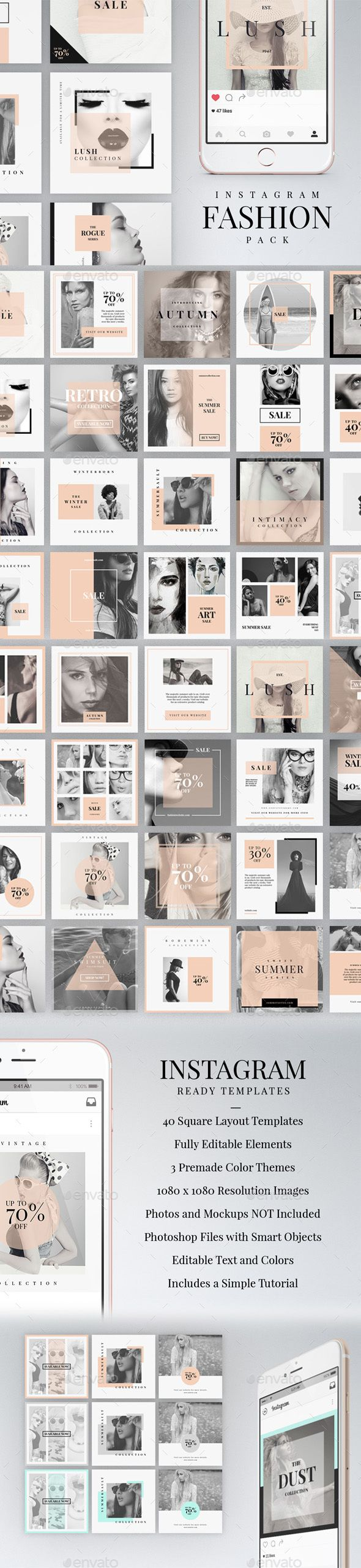Instagram Fashion Pack  — PSD Template #etsy #social media #presentation…