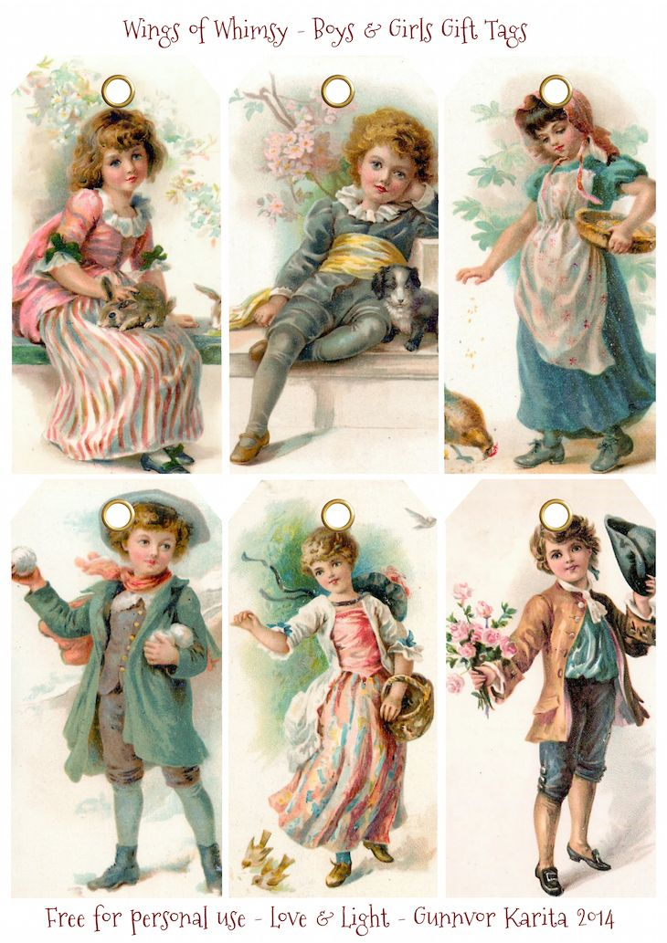 Wings of Whimsy: Vintage Boys & Girls Christmas Gift Tags Printables
