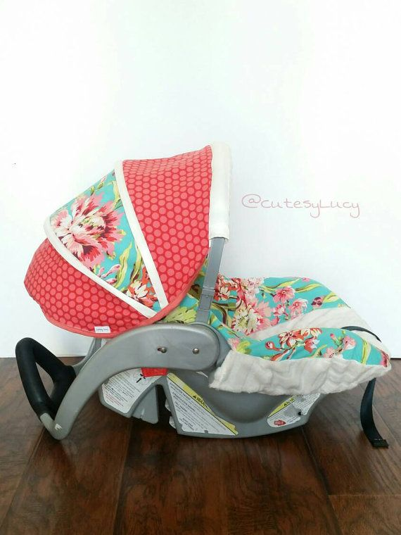 Amy Butler Love Bliss Bouquet Carseat Cover, Floral Boutique Girls Infant Car Seat Cover, Coral and Teal Canopy Cover, Free Shipping