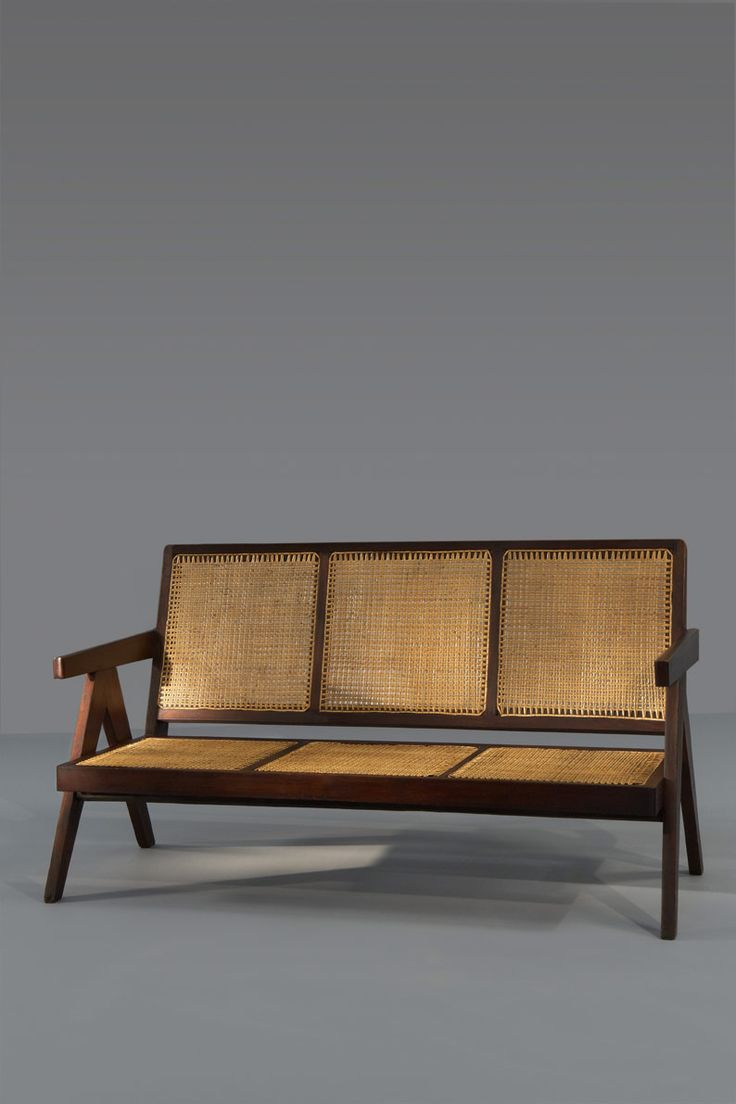Pierre Jeanneret; Palisander and Cane Sofa for Penjab Science Block, Chandigarh, 1965.