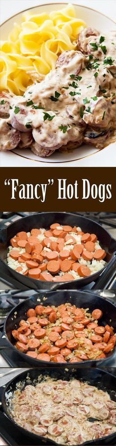 """""""Fancy"""" hot dogs! A family favorite, hot dog slices sautéed with onions in a sour cream sauce, served with noodles. Easy to make, easy on the budget, and kids love it! Takes only 20 minutes, start to finish. On SimplyRecipes.com"""