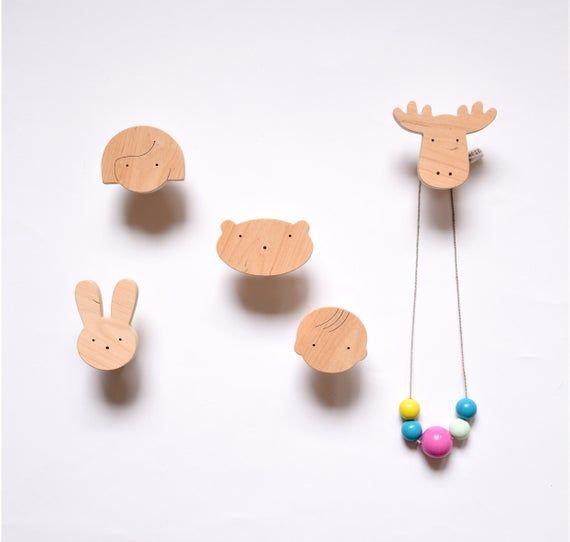 Beautiful Hook with wooden girl perfect for baby room