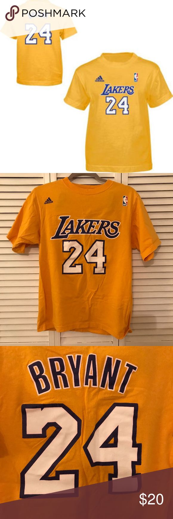 Kobe Bryant Laker's T-Shirt Adorable and classic Kobe Bryant LA Lakers T-shirt! Has been worn a handful of times,  but still has lots of life in it and is in great condition! While the shirt looks wrinkled in the pics, it will be steamed before it is shipped out! Please feel free to ask questions! :) adidas Tops Tees - Short Sleeve