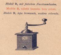 """1840. Le premier moulin à café. Le modèle R, fabriqué en bois et en tôle, est disponible en 10 tailles différentes. Jusqu'en 1870, il a été appelé le \ """"Modèle ordinaire \""""."""