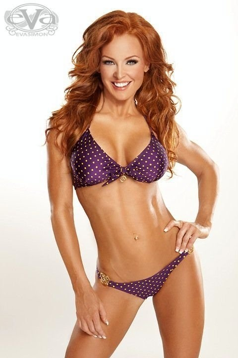 Veronique Morin - Canadian Fitness Model. Want her body and her swim suit! -- purple & gold :)