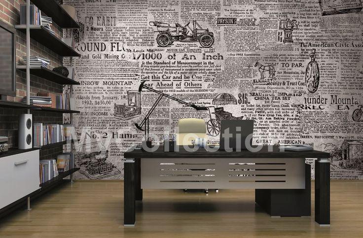 News > Collezione Fancy Arte tipografica e stralci di giornale per un rivestimento a muro dal fascino retrò, che evoca le fumose redazioni degli anni Cinquanta.  #wallpaper #mycollection #room #colour #design #home #office #living #fancy #news