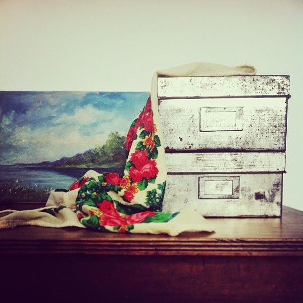 vintage French Industrial metal boxes, a landscape and a babushka