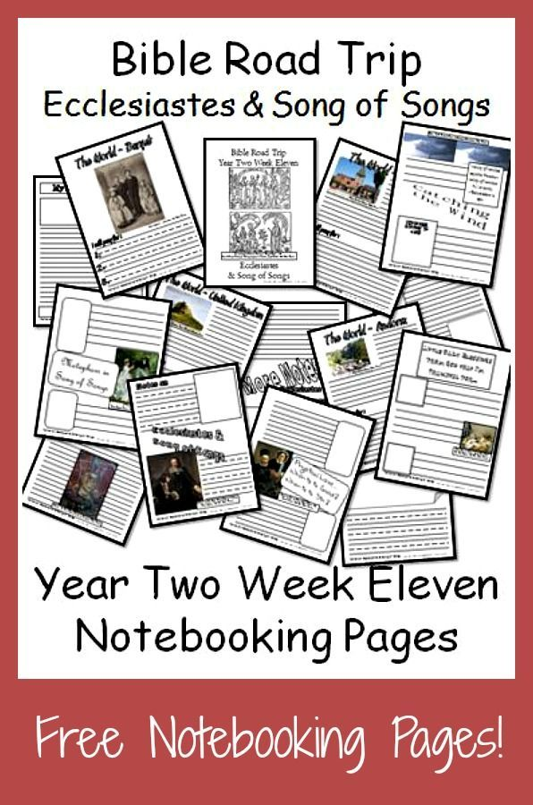 {Free Printable Notebook Pages} Bible Road Trip ~ Year Two Week Eleven