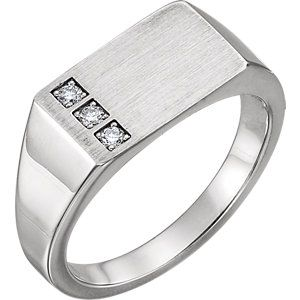 14kt White 1/10 CTW Diamond Signet Ring