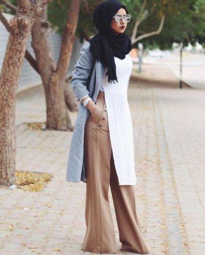 beige palazzo pants with hijab- Beautiful hijab trends 2016 http://www.justtrendygirls.com/beautiful-hijab-trends-2016/