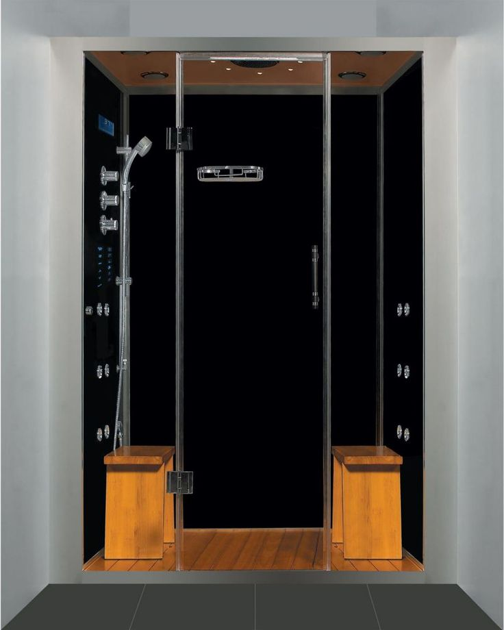luxury steam shower alcove enclosure with multi body massage water jets black stone base - Luxury Steam Showers
