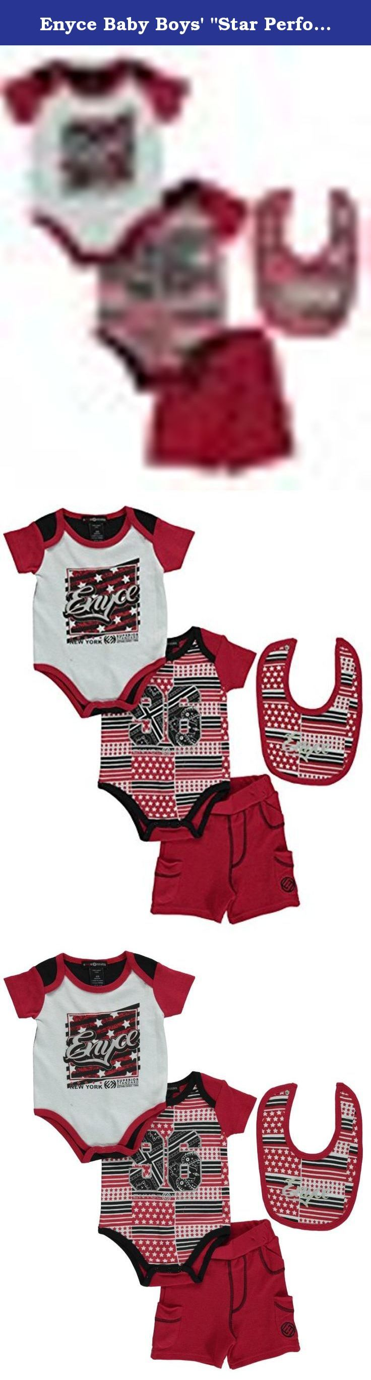 """Enyce Baby Boys' """"Star Performer"""" 4-Piece Set - red/white, 3 - 6 months. Push his everyday look to the next level with the classic urban style of this Enyce outfit. Each piece is soft and kid-friendly. Includes: Bodysuit 1 (100% Cotton) Bodysuit 2 (100% Cotton) Shorts (100% Cotton) Bib (100% Cotton) Machine Wash Cold, Inside Out Imported."""