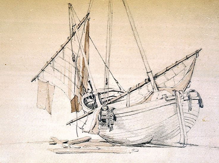 """Beached fishing boat with sail lowered"",  a beautiful drawing by Samuel Prout"
