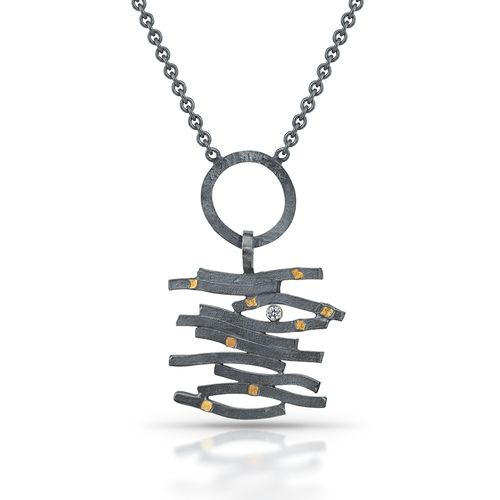Jewelry Artist Lori Gottlieb's Unique Zen Wave Necklace is made from Oxidized Sterling Silver, Bimetal and Cubic Zirconia.