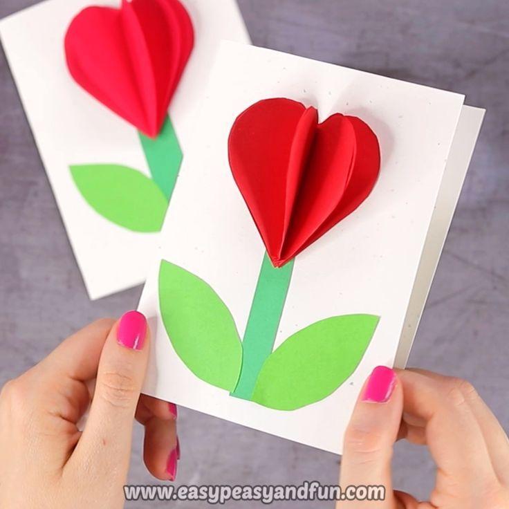 3D-Herz-Blumenkarte (mit Blumenvorlage) – Valentines und Muttertags-Bastelidee
