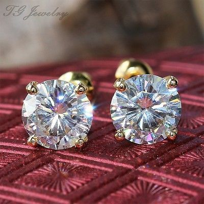1-50-ct-Round-Brilliant-Cut-Moissanite-Diamond-Stud-Earrings-14k-Yellow-Gold
