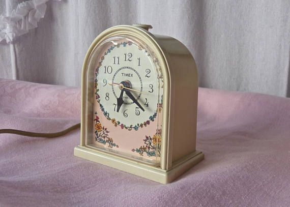 Vintage Pink Timex Alarm Clock Electric Working Clock 1970s