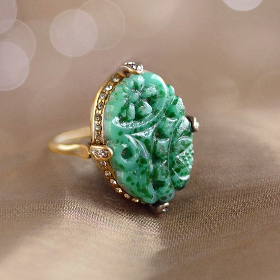 Vintage Jade Glass Ring Art Deco Ring by ShelleyCooperJewelry