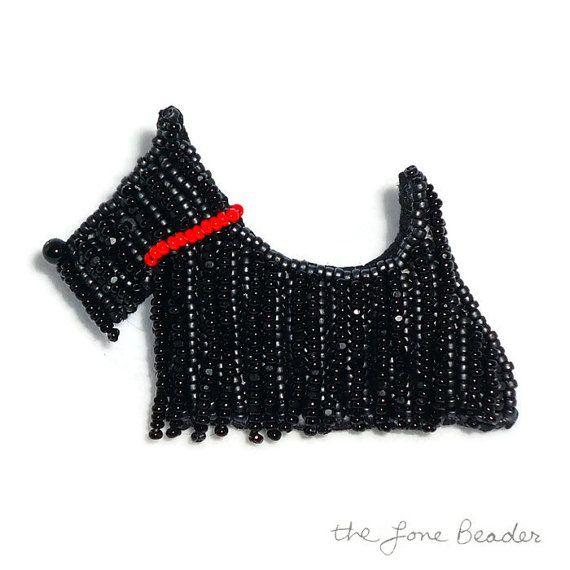 TERRIER écossais perlé chien Scottie broche pendentif art