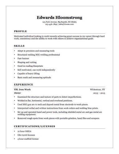 Welder Helper Resume Example