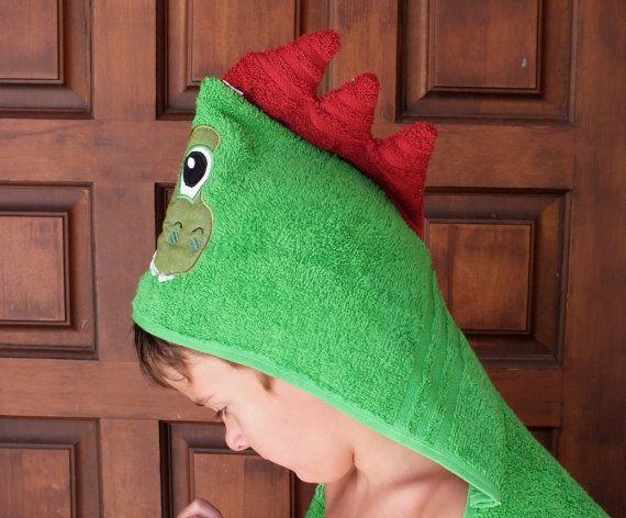 Dinosaour dragon boy hooded bath or beach towel by 4my4creations.
