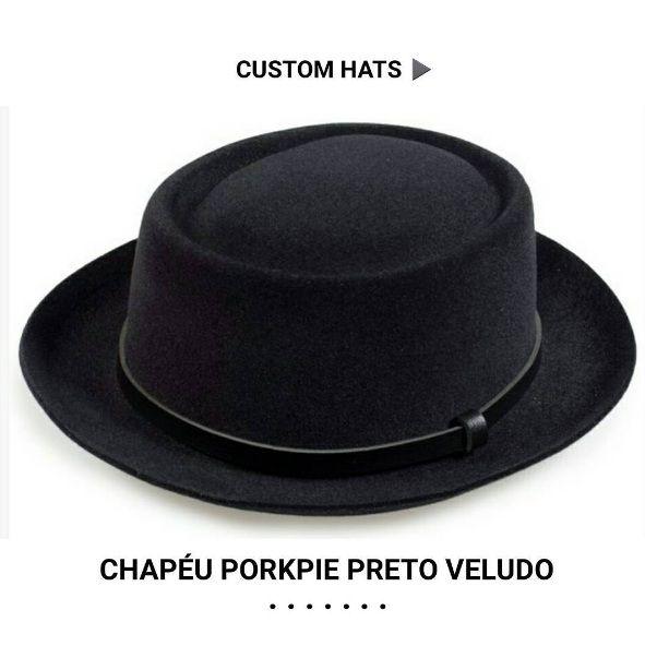 Custom Hats ▶ Chapéu Pokrpie Veludo Grafite  R$139 Frete Grátis Brasil *Customizado Artesanalmente pela Chapéu & Estilo  Compre o seu  www.chapeueestilo.com.br/porkpie