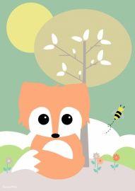 Poster: Baby vos met boom