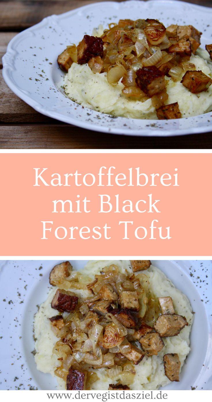 Kartoffelbrei mit Black Forest Tofu, wie Bratwurst, glutenfrei, vegan