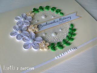 quilling idea, inspiration, quilling card, kartka, cardmaking, flowers, ribbon, bow, cream, beige, green,ślub, white, wedding,