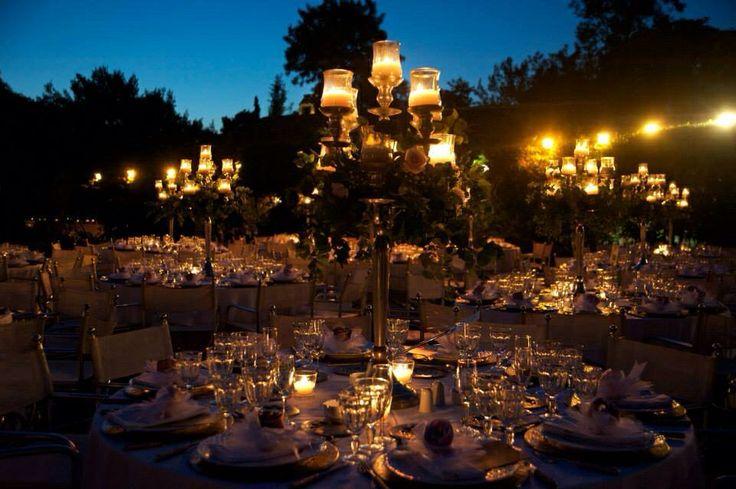 Beautiful centerpieces with high chandeliers! #wedding #greekweddings #chandelier #elegant decoration #decoration #classy decoration #elegant centerpieces #dreamsinstyle
